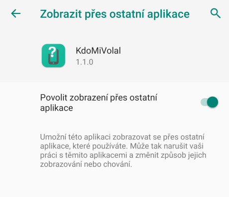 Oprávnění zobrazení přes ostatní aplikace