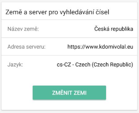 Nastavení země a serveru pro vyhledávání