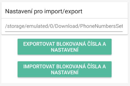 Export a import blokovaných čísel a nastavení