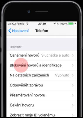 Blokování hovorů a identifikace
